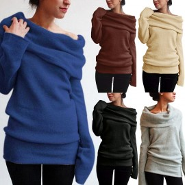 Fashion Women Off Shoulder Sweater Wool Cowl Neck Long Sleeve Solid Knitted Pullover Jumper Sweatshirt