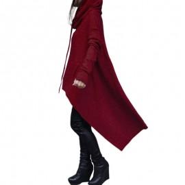Fashion Women Hoodies Dress Hooded Neck Drawstring Asymmetric Long Sleeves Pullover Casual Sweatshirt