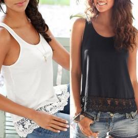 Fashion Women Summer Vest Crochet Lace Sleeveless