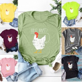 Fashion Women T-shirt Short Sleeves O Neck Cute Chicken What Slogan Letters Print Plus Size Cotton Cool Tees Casual Tops
